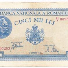 2)Bancnota 5000 lei 28 septembrie 1943 VF portret Traian+Decebal - Bancnota romaneasca