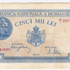 1)Bancnota 5000 lei 2 mai 1944 VF/XF portret Traian+Decebal - Bancnota romaneasca, An: 1943