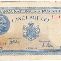 1)Bancnota 5000 lei 28 septembrie 1943 portret Traian+Decebal - Bancnota romaneasca