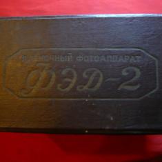 Cutie originala- Aparat Foto FED2, carton panzat, dim.= 18x16, 3x11, 5 cm, anii'50