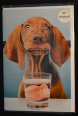 Felicitare cu plic-Comica,Caine cu ochelari, proteza dentara-nou, Germania! #152 foto