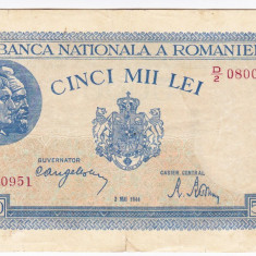 1)Bancnota 5000 lei 2 mai 1944 VF, portret Traian+Decebal - Bancnota romaneasca