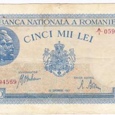 1)Bancnota 5000 lei 28 septembrie 1943 VF+ portret Traian+Decebal - Bancnota romaneasca