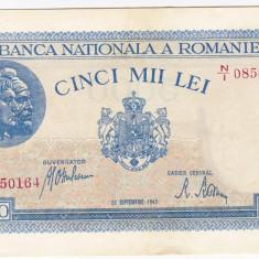 Bancnota 5000 lei 28 septembrie 1943 a.UNC/UNC portret Traian+Decebal - Bancnota romaneasca