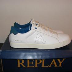 Adidasi Replay Mr Murray Mens Trainers din piele naturala nr. 43 si 44 - Adidasi barbati Replay, Culoare: Alb