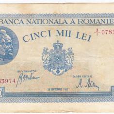 3)Bancnota 5000 lei 28 septembrie 1943 VF portret Traian+Decebal - Bancnota romaneasca