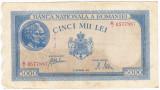 2)Bancnota 5000 lei 28 septembrie 1943 VF+ portret Traian+Decebal