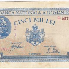 2)Bancnota 5000 lei 28 septembrie 1943 VF+ portret Traian+Decebal - Bancnota romaneasca