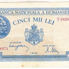 3)Bancnota 5000 lei 2 mai 1944 VF, portret Traian+Decebal - Bancnota romaneasca