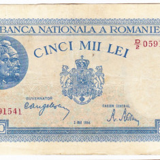 2)Bancnota 5000 lei 2 mai 1944 VF+, portret Traian+Decebal - Bancnota romaneasca
