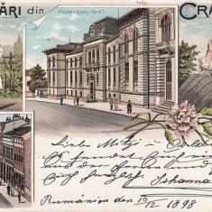 SALUTARI DIN CRAIOVA LICEUL CAROL I STR UNIREI COSTUME NATIONALE LITOGRAFIE 1898 - Carte Postala Oltenia pana la 1904, Circulata, Printata