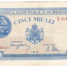 2)Bancnota 5000 lei 2 mai 1944 VF/XF portret Traian+Decebal - Bancnota romaneasca, An: 1943