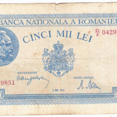 3)Bancnota 5000 lei 2 mai 1944, portret Traian+Decebal - Bancnota romaneasca
