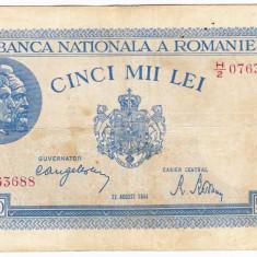 2)Bancnota 5000 lei 22 august 1944, FOARTE RARA - Bancnota romaneasca