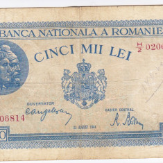 1)Bancnota 5000 lei 22 august 1944,FOARTE RARA