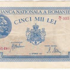 Bancnota 5000 lei 28 septembrie 1943 VF/XF portret Traian+Decebal - Bancnota romaneasca