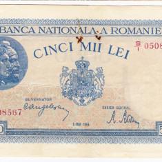 2)Bancnota 5000 lei 2 mai 1944, portret Traian+Decebal - Bancnota romaneasca
