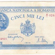 1)Bancnota 5000 lei 2 mai 1944 VF+, portret Traian+Decebal - Bancnota romaneasca