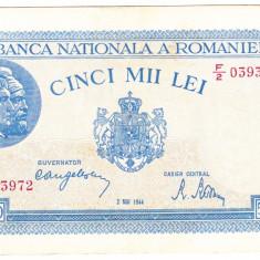 3)Bancnota 5000 lei 2 mai 1944 VF/XF portret Traian+Decebal - Bancnota romaneasca