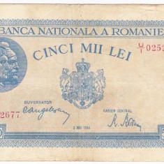 1)Bancnota 5000 lei 2 mai 1944, portret Traian+Decebal - Bancnota romaneasca