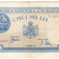 1)Bancnota 5000 lei 28 septembrie 1943 VF portret Traian+Decebal - Bancnota romaneasca