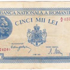 2)Bancnota 5000 lei 2 mai 1944 VF, portret Traian+Decebal - Bancnota romaneasca