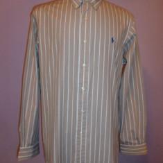 Camasa Polo by Ralph Lauren originala bej cu dugi albe, L/XL, Maneca lunga