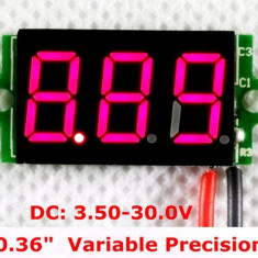 Voltmetru digital cu leduri rosii, 3.5 - 30 V, cu 3 digit si 2 fire