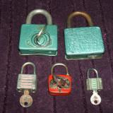 Lot 5 lacate vechi de colectie, 4 functionale cu cheie, amintiri Epoca de Aur