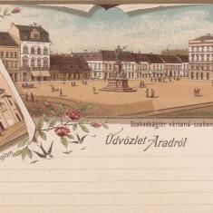 SALUTARI DIN ARAD, CATEDRALA, PIATA LIBERTATII, STATUIA MARTIRILOR, LITOGRAFIE - Carte Postala Crisana pana la 1904, Necirculata, Printata