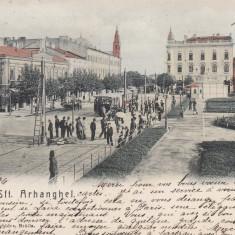 BRAILA, PIATA SFINTII ARHANGHELI, CIRCULATA, STAMPILA JAN. 1906 - Carte Postala Muntenia pana la 1904, Printata