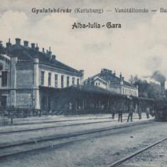 ALBA IULIA, GARA, LOCOMOTIVA CU ABUR - Carte Postala Transilvania 1904-1918, Circulata, Printata