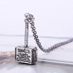 Pandantiv / Colier / Lantisor - Ciocanul Lui THOR - Argintiu - Lantisor fashion