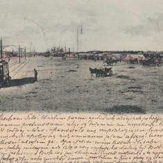 BRAILA, VEDEREA PORTULUI, TRAMVAI, CARUTE, CLASICA, CIRC. 1904 STAMPILE GARA - Carte Postala Muntenia pana la 1904, Circulata, Printata