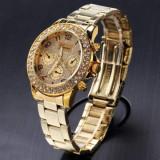 Ceas dama FASHION Geneva cadran auriu cristale bratara metalica + cutie cadou, Quartz, Otel, Analog