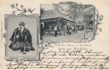 SALUTARI  DIN ADA-KALEH   BAZARRUL TURCESC DIN ADA-KALEH   LITOGRAFIE  CIRC 1899, Circulata, Printata, Ada Kaleh