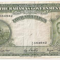Bahamas 4 Shillings ND(1953) VF - bancnota america