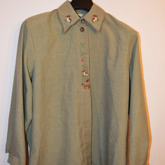 Bluza dame model etno (rustic, folcloric), broderie ciperci, cal, ghinzi, plante - Bluza dama, Marime: 36, Culoare: Albastru