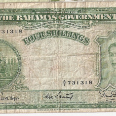 Bahamas 4 Shillings ND(1953) F - bancnota america