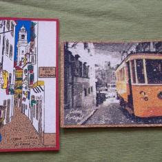 Doua carti postale din pluta Portugalia Lisabona - Carte postala tematica, Necirculata, Printata