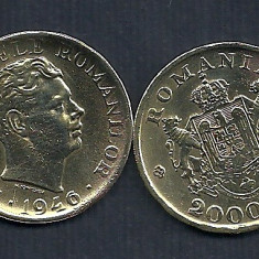 ROMANIA MIHAI I 2000 2.000 LEI 1946 [3] VF+, livrare in catonas - Moneda Romania, Alama