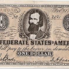 SUA USA 1 DOLAR DOLLAR CONFEDERATE 1864 VF COPIE - bancnota america