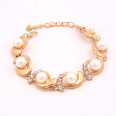 Superba bratara suflata cu aur de 9K cu zircon CZ si perle - Bratara placate cu aur