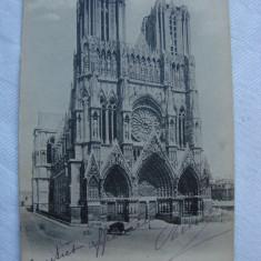 Carte postala circulata in anul 1905 - REIMS - Facade de la Cathedrale, Franta, Printata