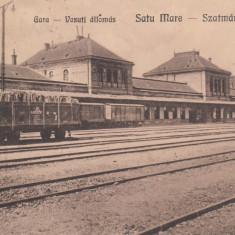 SATU-MARE, GARA, CIRCULATA, STAMPILA 27 NOV. 1923 - Carte Postala Maramures dupa 1918, Printata