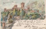 OLTENIA, GORJ , SALUTARI DIN ROMANIA, MANASTIREA TISMANA,  LITOGRAFIE CIRC. 1900, Circulata, Printata, Targu Jiu