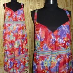 Rochie maxi din panza fina, rosu cu imprimeu floral, aproximativ marimea 44/46 - Rochie de zi, Cu bretele, Poliester