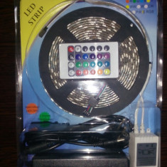 Kit Banda led RGB 5050, 300 led, telec. 24 taste si alim. 12V
