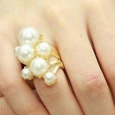 Superb inel 9k GOLD FILLED alb cu perle. Marimea 5 si 6 - Inel placate cu aur