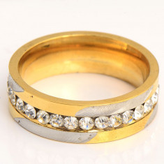 Superb inel verigheta 9K gold filled cu cu zircon cz. Marimea 6 si 7 - Inel placate cu aur